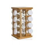 Présentoir pots à épices en bambou - rotatif - 16 pots