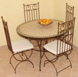 Chaises en fer forgé+tables(en zellij et mosaique
