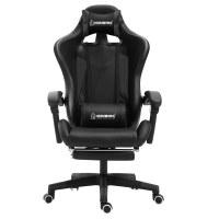 Herzberg HG-8080: Chaise de jeu ergonomique de style course Noire