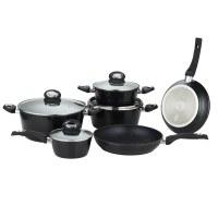 Herzberg HG-8079: Batterie de cuisine forgée de 10 pièces Noire