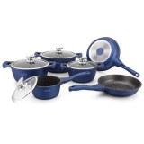 Royalty Line RL-BS1010M: Pot de 10 pièces avec revêtement en céramique Bleu