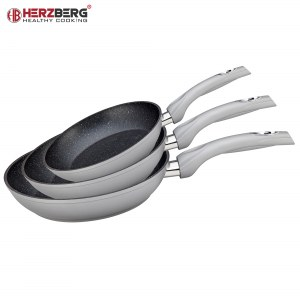 Herzberg HG-FP3: 3 Pièces En Aluminium Forgé Poêle à frire Ensemble 20/24/28 Argent