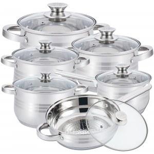 Herzberg HG-1241: Batterie de Cuisine 12 Pièces en Acier Inoxydable