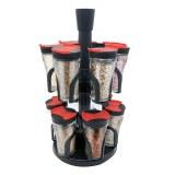Herzberg Étagère à épices avec 12 bocaux en verre