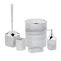 Herzberg HG-OKY5141: Ensemble de salle de bain 5 pièces - marbre pierre Gris clair