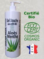 GEL DOUCHE BIO ALOES MENTHE - Régénérant et Hydratant - 500 ML - Certifié bio COSMOS EC...