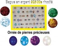 LOT de 50 Bagues en argent 925/00e rhodié Ornée de pierres précieuses