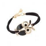 Bracelet bijoux fantaisie, orne d'un hiboux . ( rouge, turquoise )