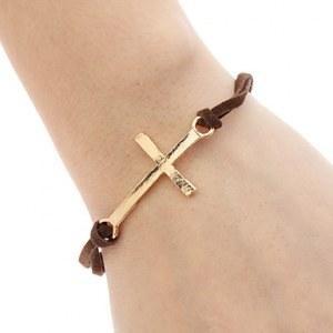 Elegant bracelet fantaisie orne d'une croix ( noir, marron )