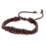 Bracelet fantaisie en corde tresse de couleur cafe ( mixite