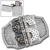 Boucle de ceinture + briquet - Dollars argenté