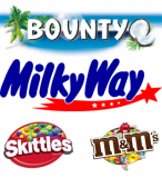 Bounty, Milkyway, Skittles, M&M