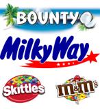 Bounty, Milkyway, Skittles, M&M