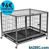 Cage avec roues pour chiens Acier 98x77x72 cm LIVRAISON GRATUITE