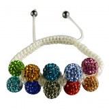Bracelet feminin compose de 10 boules de crystale multicolores