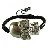 Bracelet avec tete de mort, d'inspiration Biker