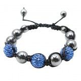 Bracelet tibetain compose de billes de Crystal et d��hématites- Bleu, argent, or
