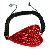 Bracelet en crystal et en forme de coeur- Rouge, bleu ciel