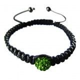 Bracelet en cristal, macramé et Hématite noire véritable. Rose, vert, blanc