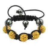 Bracelet tibetain compose de 5 boule de crystal- Noir, blanc