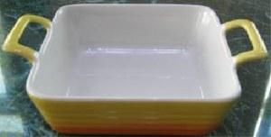 Plat en grés émaillé carré 4 couleurs