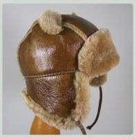 Chapeau chapka enfant en cuir d'Agneau et fourrure de Mouton Mérinos