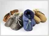 Chaussons bébé en cuir et fourrure d'Agneau