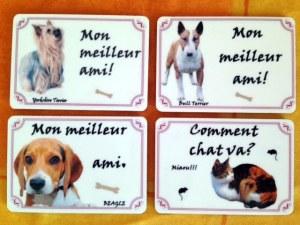 Lot magnet plaques alu chiens chats
