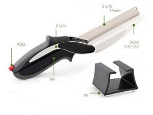 Clever Cutter 2 en 1 Ciseaux et couteau Planche à découper multifonctions