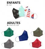 Masques lavables enfants et adultes très haute qualité
