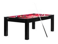Billard Brooklyn convertible en table à manger - Couleur noire avec tapis rouge