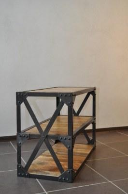 Table basse industrielle acier et bois