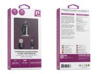 Kit 2 en 1 chargeur voiture USB noir 1A avec câble micro-usb