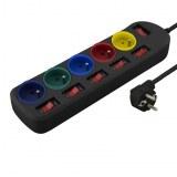 Multiprise - rallonge prise Electrique - Bloc prises couleur NOIR - 5 prises - interrup...