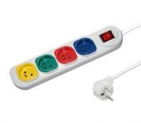 Multiprise Électrique Multi-couleur x 4 prises Blanc avec interrupteur Central 10A-250V...
