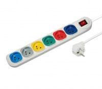 Multiprise Électrique Multi-couleur x 6 prises Blanc avec interrupteur Central 10A-250V...