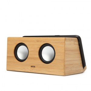 Enceinte bluetooth en bois 2x3w avec support a induction