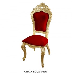 Grossiste chaise de style bois doré et velours rouge