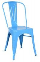 Chaise de bistrot en acier bleu ciel