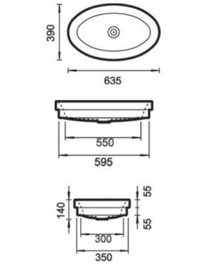 Vasque Sanitana Oval Encastrable 635x390x140