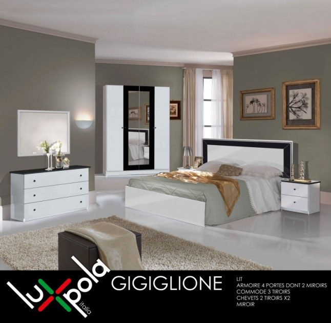 Chambre a coucher complete gigiglione destockage grossiste for Chambre adulte complete destockage