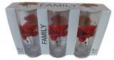 Barrette de 3 verres motif Coquelicot