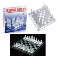 Jeu d'échecs en verre échiquier transparent givré