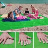 SHOP-STORY - SAND FREE MAT GREEN : Serviette de Plage Drap Anti-Sable avec Crochet - 15...