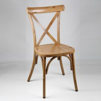 Chaise bistrot dos croisé en aluminium aspect bois