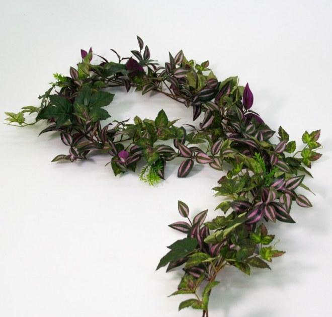 Guirlande de feuillages mixtes artificiel destockage grossiste for Destockage plantes