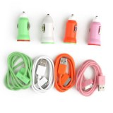 Chargeur de Voiture Coloré avec Données USB/Cable de Chargement 4/4S/3G/3GS/Appareils...