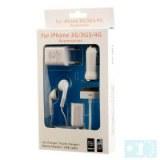 Kit de Chargement 5 en 1 (Chargeur de Voiture/de Voyage/Ecouteurs Stéréos/Cable USB/Sép...)