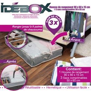Housse de rangement lit 90x60x15 / 4.50€HT - IDEBOX
