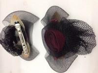 Barrettes pour cheveux avec rose et voile noir